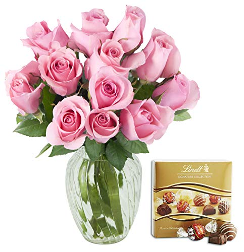 Kabloom Bouquet of 12 Fresh Pink Roses (Farm-Fresh,...