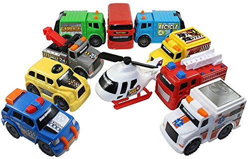 Toy State Emergency City Vehicles set of 10- Police, Fire Truck, Ambulance, Action News Helicopter, Taxi, Bus, Recycle, Garbage & Tow Trucks - all Free-Wheeling some with Moving Parts Imagination ()