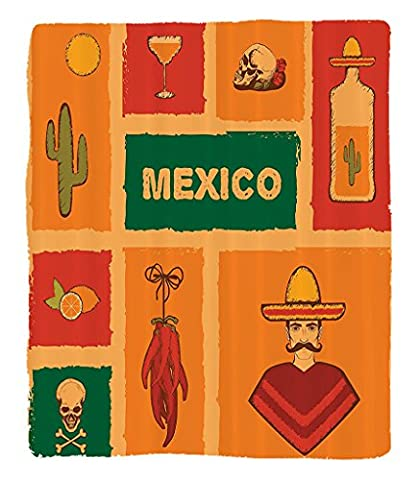 Chaoran 1 Fleece Blanket on Amazon Super Silky Soft All Season Super Plush Mexican Decorations Collection Mexican Icons Cactus Tequila Illustration Lemon Crossbone Pepper Party Image Fabric et - Tube Pumpkin Pepper