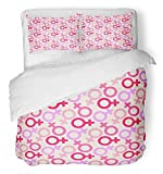 Emvency 3 Piece Duvet Cover Set Brushed Microfiber Fabric Breathable Pink Women of Female Venus Symbol Purple March Abstract Creative Cute Day Bedding Set with 2 Pillow Covers Twin Size