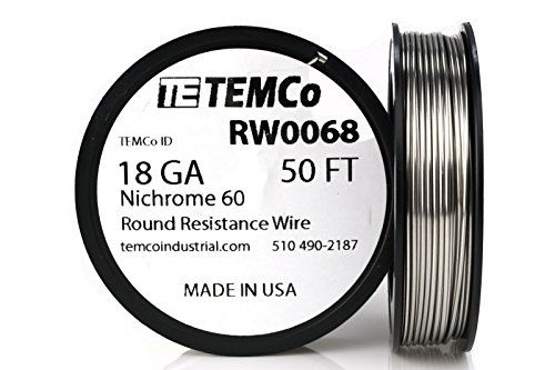 TEMCo Nichrome 60 series wire 18 Gauge 50 Ft Resistance AWG ga
