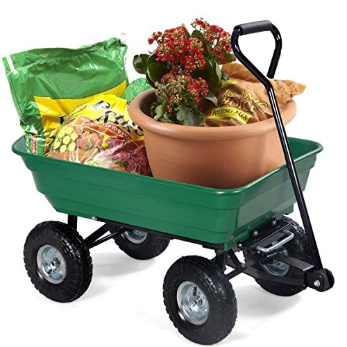 Garden Utility Cart With Wheels : Lb heavy duty garden dump carrier cart with wheel