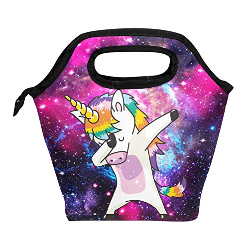 ALAZA Lunch Tote Bag Dab Unicorn Galaxy Insulated Cooler Thermal Reusable Bag, Rainbow Unicorn Star Universe Blue Lunch Box Portable Handbag for Men Women Kids Boys Girls ()