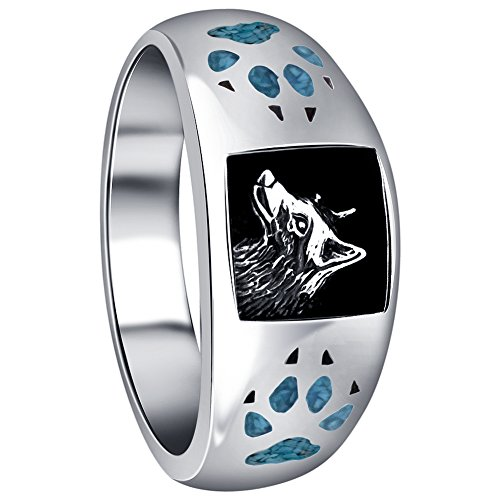 Turquoise Gemstone Inlay Band (Gem Avenue Men's Sterling Silver Turquoise Gemstone Inlay Wolf with Paw and Claw Southwestern Style Ring)