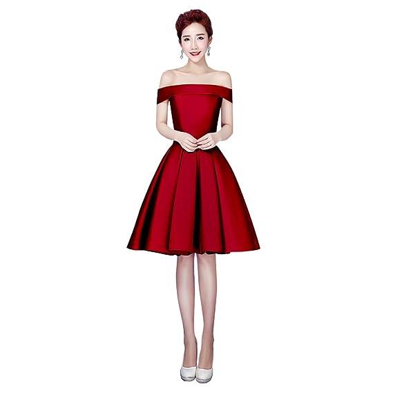Vimans® Burgundy Short Off Shoulder Satin Sleeveless Prom Dresses for Lady