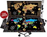 """Premium New Scratch Off Map of The World Poster – Larger 34.5"""" x 17"""" Travel Map with Gold Foil – Outlined United States in Vibrant Colors – Best Gift for Travelers – Full Tools Set Included"""