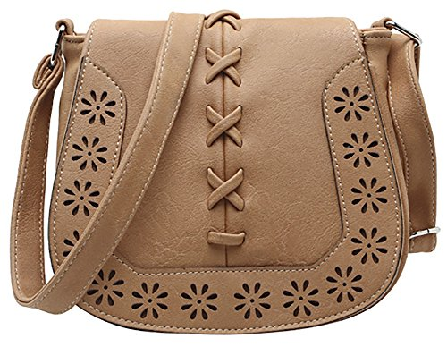 Lacing Purse Hobo Bag with PU Travel 2 Women's Brown Hollow Shoulder Crossbody Sanddle RwFZBqv