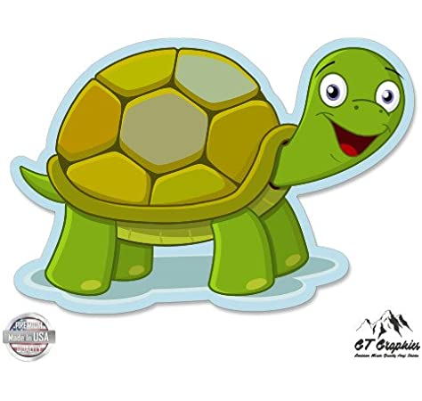 /'/'SIZES/'/' Happy Turtle Cartoon Car Bumper Sticker Decal