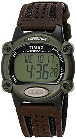 Timex Men's T48042 Expedition Full-Size Digital CAT Brown Mixed Material Strap Watch (Swimming Digital Clock)