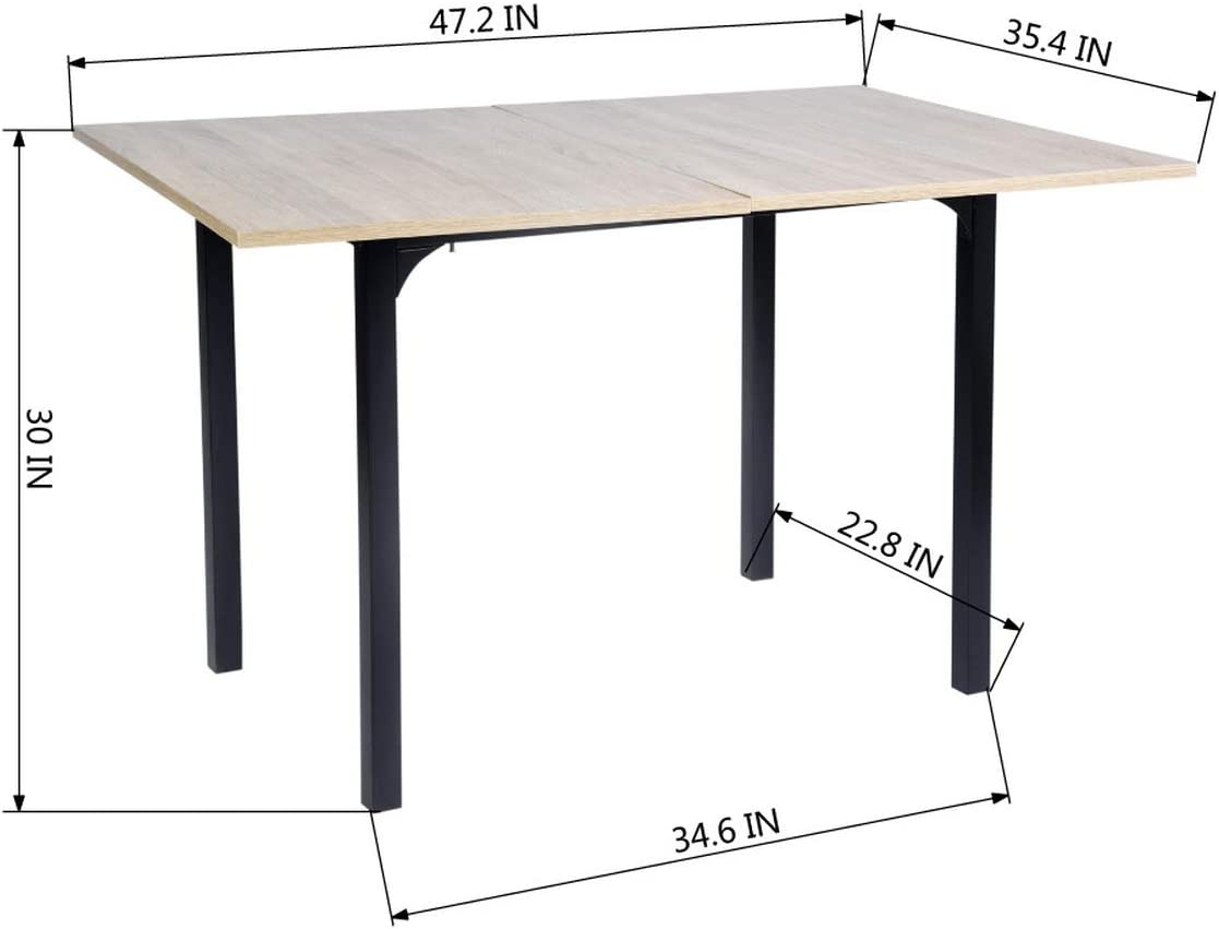 Space Saving Adjustable Dining Table HOMEMAKE Extendable Multipurpose Training Table Conference Table Home Office Desk 60-120CM