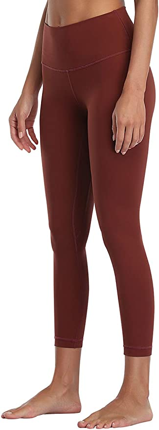 Amazon.com: PERONA Double-Soft Workout Leggings for Women, High Waist Tummy Control 7/8 Length Yoga Pants with Pocket Maroon: Clothing