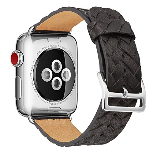 Apple Watch Band 42mm,TOKASA Woven Texture Genuine Leather Iwatch Strap Replacement Bands with Stainless Metal Clasp for Apple Watch Series 3 Series 2 Series 1 Sports Edition mens womens (Black) (Stainless Polished Ladies Steel Case)