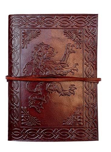 Pearl Leather Handmade Embossed Leather Journal Brown 120 Pages Personal Dairy Note Book Celtic Lion Embossed Leather Journal Diary 7x5 Inch
