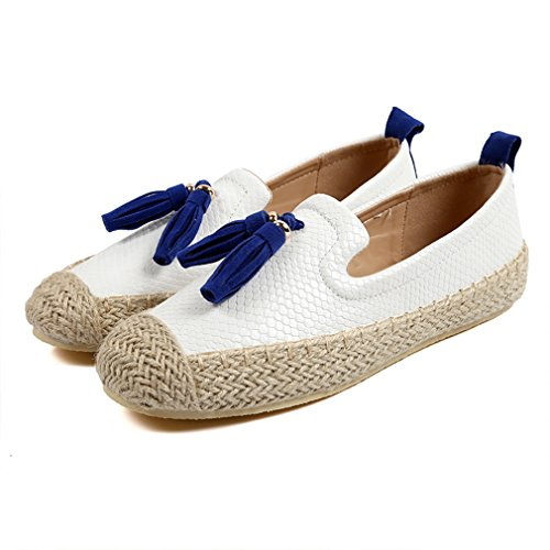 Hoxekle Womens Flower Low Top Low Heels Round Toe Microfiber Insole Rubber Sole Slip On Loafer Shoes White PcS03