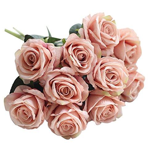 Flower, Gotd 5 Pcs Artificial Fake Roses Flannel Flower Bridal Bouquet Wedding Party Home Decor (Multicolor 07) ()