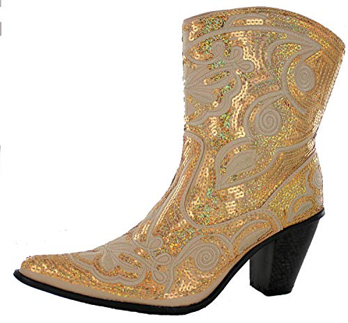 Helens Heart Women's Sparkle Sequin Bling Short Western Cowgirl Boots Gold Size 7]()