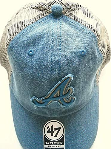 '47 Atlanta Braves Adult Stretch-Fit Flex-Fit 1-Fit Cap Hat with Frayed Logo A on Blue Front and Tan Trucker Meshback - Frayed Logo Cap
