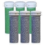 Replacement Refill Rollers for Emjoi Micro-pedi (3 Super Coarse+ 3 Xtreme Coarse) - Pack of 6