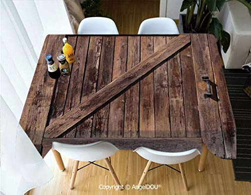 AngelDOU Waterproof Stain Resistant Lightweight Table Cover Aged Sliding Door with Rustic Texture Authentic Vintage Architectural Rural Decorative Print for Camping Picnic Rectangu,W55xL55(inch)