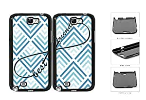 Blue Chevron Best Friends Set Hard Plastic Snap On Cell Phone Case Samsung Galaxy Note 2 II N7100