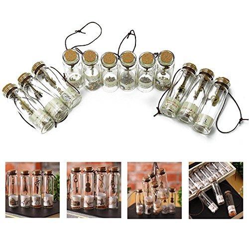 Itian 12 Pezzi Bottiglie Mini di Vetro che Desiderano con Tappi di Sughero per Regalo di Compleanno Nozze Bomboniere