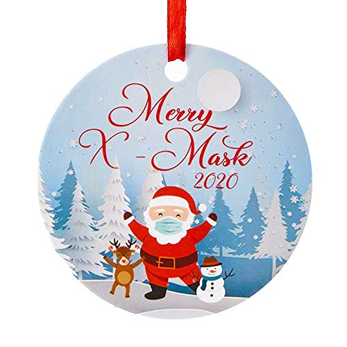 F.T 2 Pack 2020 Christmas Tree Decorations Set Indoor - Personalized Name Ornament & Round Hanging Pendant Kit Xmas Decor Quarantine Survivor Decorating DIY Customized Gifts for Family (Family of 4)