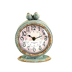 Creative Co-op Grey Pewter Mantel Birds Clocks,