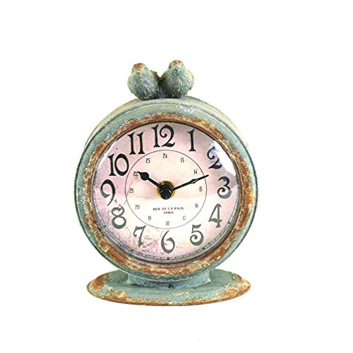 - Creative Co-op Grey Pewter Mantel Birds Clocks,