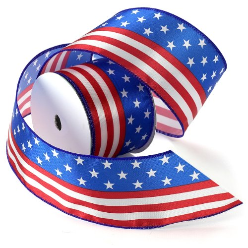 (Morex Ribbon Stars and Stripes Wired Satin Ribbon Spool, 2-1/2-Inch by 3-Yard,)