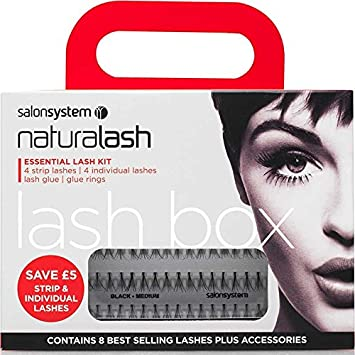 18a18aa4f86 Salon System Naturalash Essential Lash Kit 4 x Strip 4 x Individual Glue &  Rings: Amazon.co.uk: Beauty