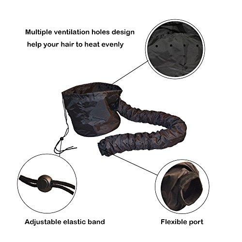 Hair Dryer Bonnet Attachment, SXG Hair Salon Dryer Bonnet Safe hood Hair Heat Cap Home hair dryer bonnet -Black by SXG (Image #1)