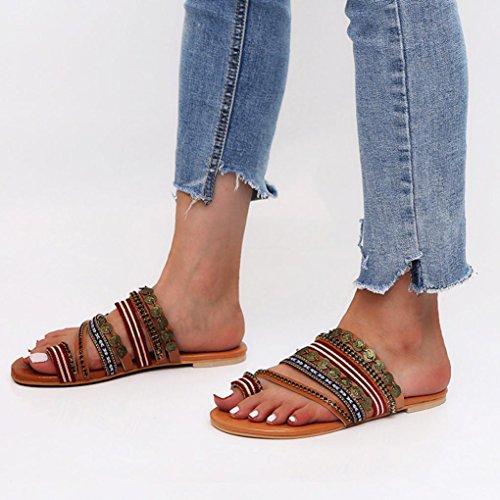 Pom Bohême Mode Mesdames Sandales Pantoufles Femme Pom Mode Romain Brun Rome Pantoufles Flats de JIANGfu Chaussures Sandales Plat Chaussures ❤️❤️ Été Bohème Chaussures zUEF8