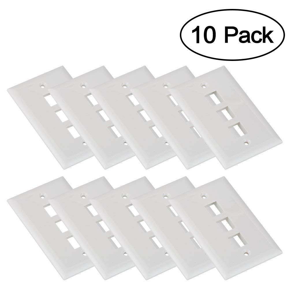 Keystone Wall Plates, MACTISICAL 3 Port Single Gang Keystone Face Plates 10 Pack