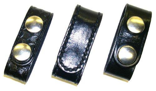Leather Belt Keeper - 4 Pack - 3/4 inch / Basketweave / Black Snaps