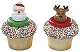 Jolly Santa & Reindeer Christmas Cupcake Rings - 24 pc