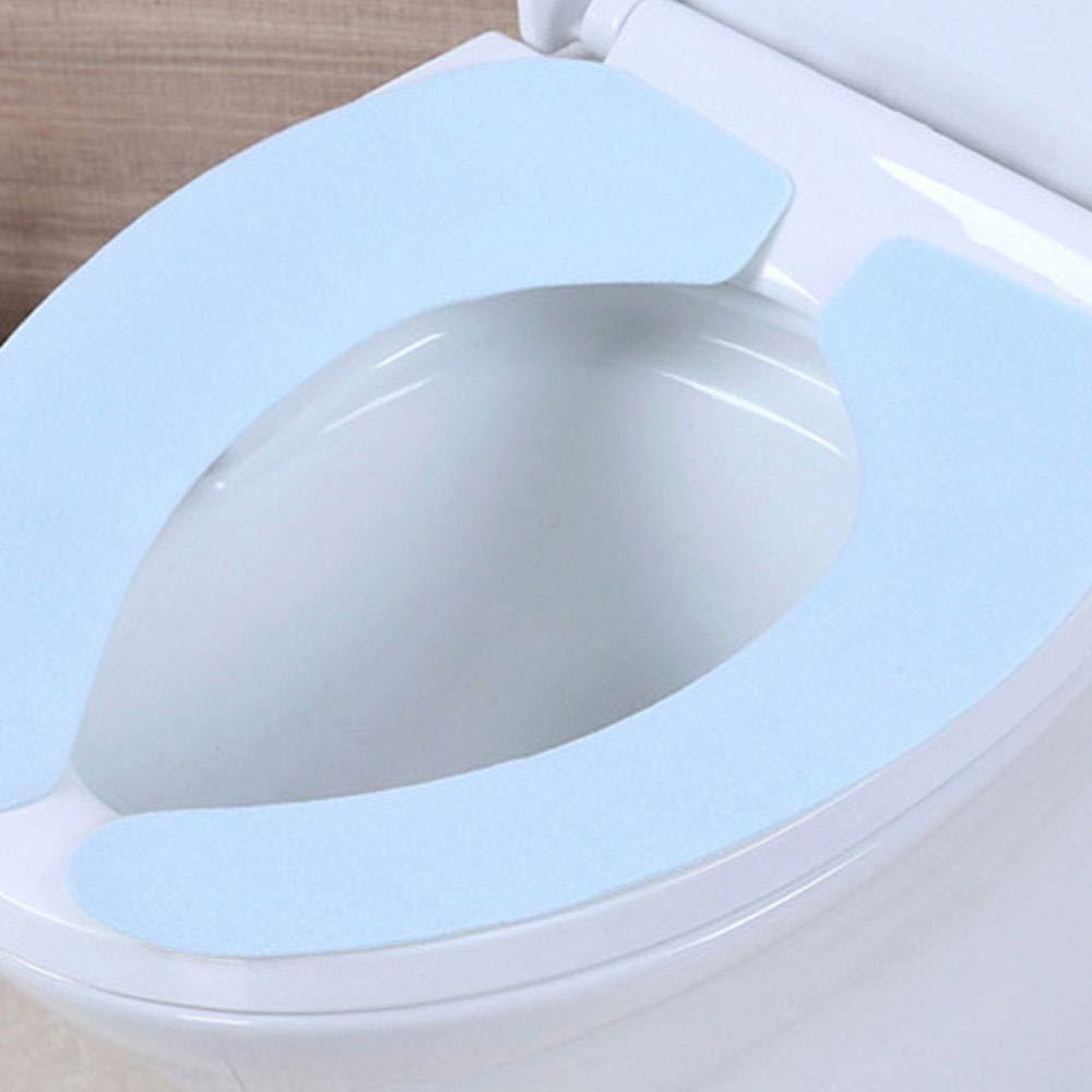 Denzar Toilet Seat Mat,Removable Toilet Seat Mat,Magic Sticker Bath Warmer Closestool Washable Soft Seat Cover Pads (Blue)