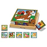 Melissa & Doug Rompecabezas de mascotas de cubos de madera, niños preescolares, seis rompecabezas en uno, construcción robusta de madera, 16 cubos y bandejas de madera, 20.32 cm alto x 20.32 cm ancho x 5.715 cm largo