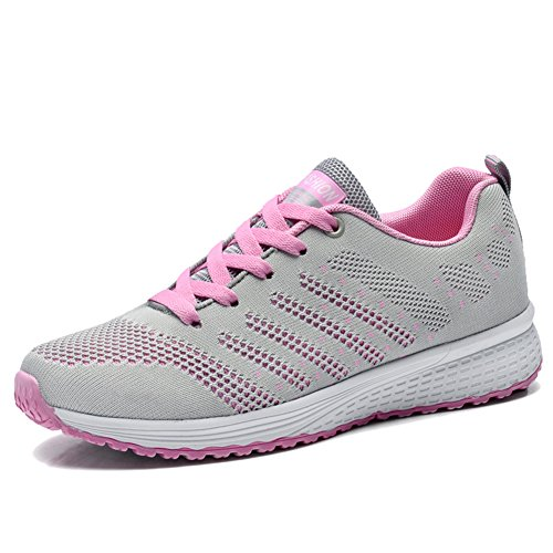 QTMS Sport Women's Walking Sneakers Tennis Breathable Athletic Running Shoes, 0259, Grey CN size 38