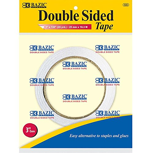 """BAZIC 1"""" X 20 Yard  Double Sided Tape, Box Pack of 12"""