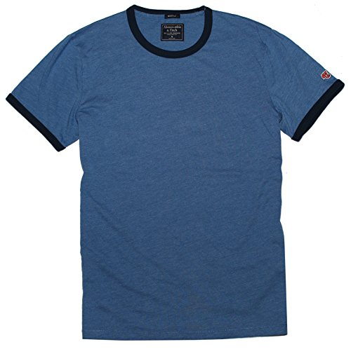 Abercrombie & Fitch Men Muscle Fit Ringer Logo Tee (S, Blue) (Muscle Abercrombie)