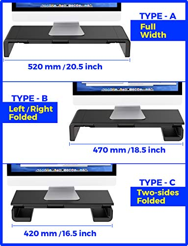 Monitor Stand Riser, Computer Laptop Riser Shelf with Organizer Drawer, Adjustable Length, Speaker TV PC Laptop Computer Screen Riser Desk Organizer, EURPMASK(Black) Photo #7