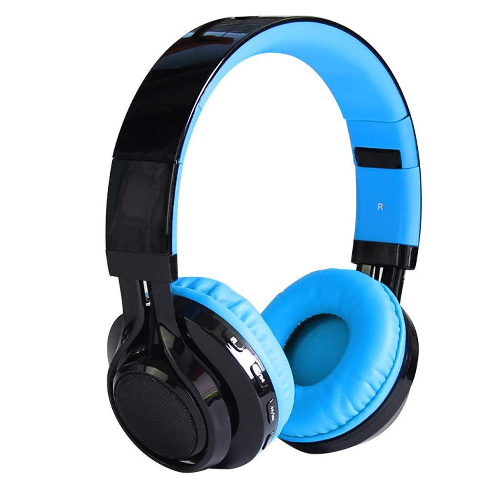 Wireless Bluetooth LED Stereo Headphone Headset Foldable Heavy Bass FM TF (Blue)