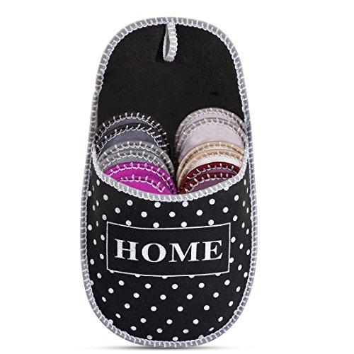 VIVOHOME Multi Dots Home Indoor Guest Slipper Set Black 6 Pairs
