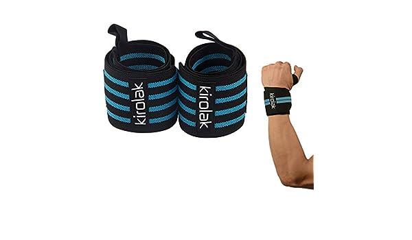 Wrist Wraps Levantamiento de pesas Calidad profesional de correas de muñeca Soporte, KIROLAK Fuerza de mano elástica y apoyo para culturismo, Crossfit, ...