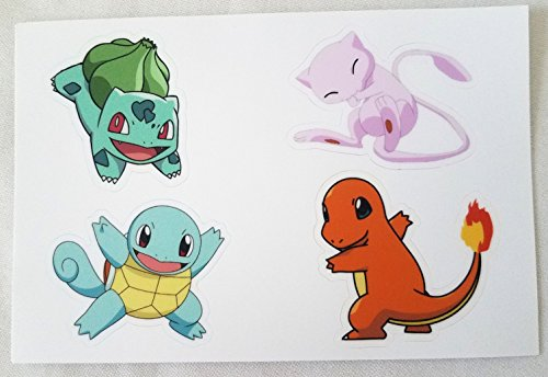 4 Stickers - Sheet Gen 1 Set - Charmander, Squirtle, Bulbasaur, - Nintendo Sheet Sticker