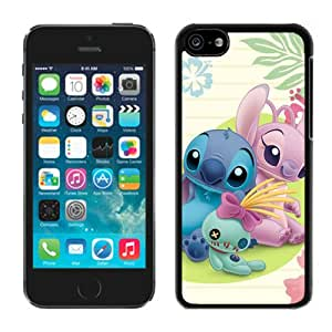 Disney Stitch and Girlfriend Black Case Cover for iPhone 5C Grace and Cool Design