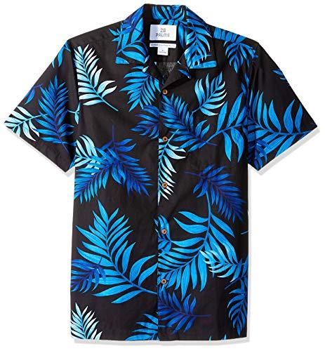 28 Palms Men's Standard-Fit 100% Cotton Tropical Hawaiian Shirt, Black/Blue Midnight, ()