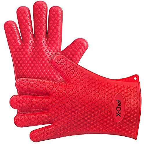 Oven Chef Mitt (X-Chef Heat Resistant Silicone Gloves, Food Grade Heat Insulated Oven Mitts for Kitchen Cooking Baking Grilling Frying BBQ)