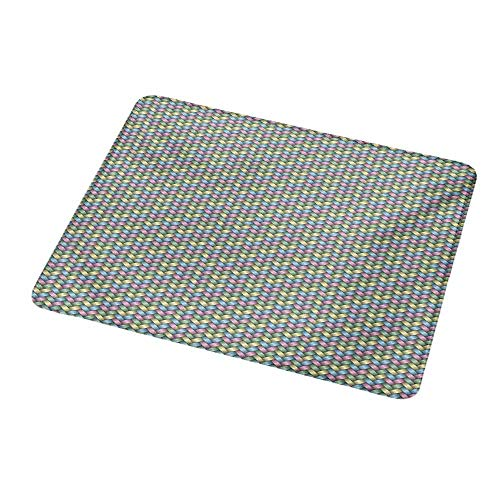 """Mouse Pad Abstract,Woven Soft Colored Geometric Stripes Crisscross Pattern Ornate Traditional Design,Non-Slip Thick Rubber Mousepad Mat 9.8""""x11.8""""inch"""