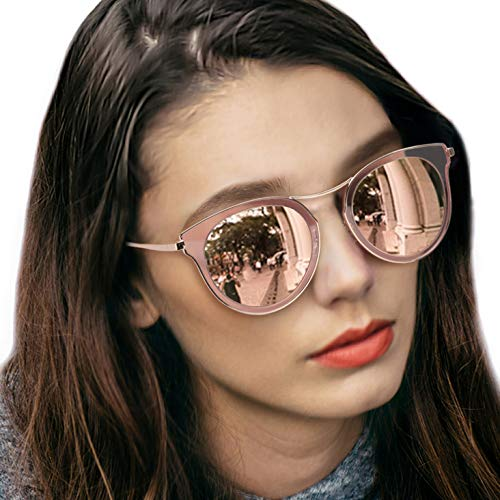 LVIOE Cat Eye Women's Sunglasses, Polarized Fashion Vintage Eyewear for Driving - 100% UV400 Protection (Rose Gold Mirror Cat Eye Sunglasses)